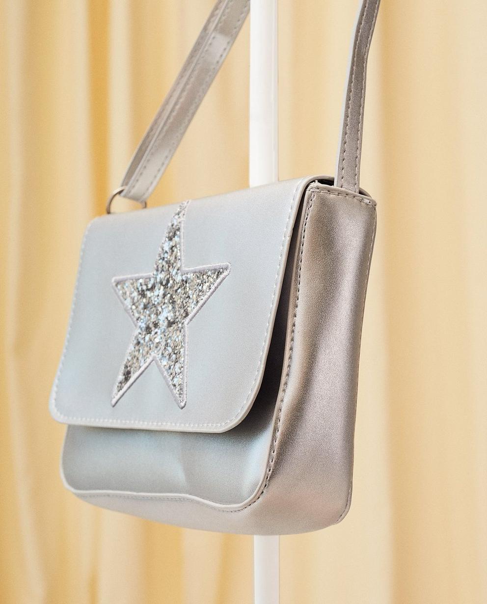 Handtaschen - Blassgrau - Metallic-Schultertasche
